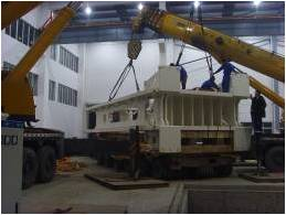 Two 200 ton cranes are used  due to the height of the roof.