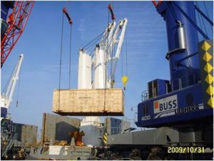 The 98 ton pressing machine is loading at Hamburg port.